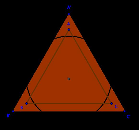 π não é 3. Observe o círculo de raio unitário, um triângulo de perímetro 6 e outro triângulo de área 3.